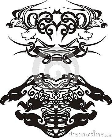 Stylized symmetric vignettes with birds
