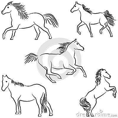 tecknade hästar
