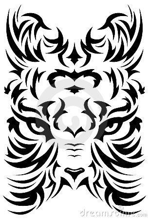 Stylized Tiger face symbol - tattoo - vector