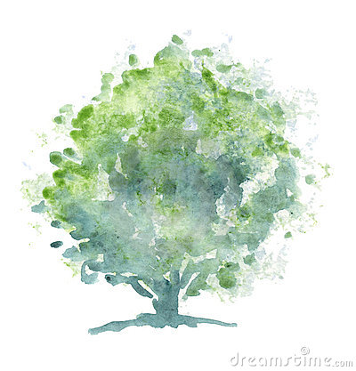 Free Stylized Tree - Watercolor Royalty Free Stock Images - 2122329