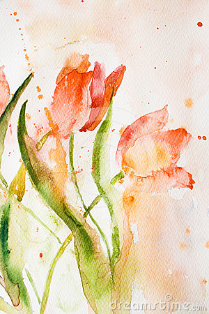 Stylized tulips flowers