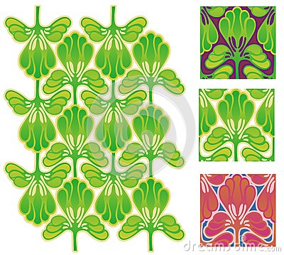 Stylized wallpaper leaves or feathers