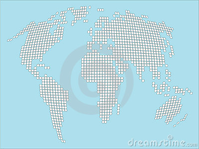 Stylized white dotted World map
