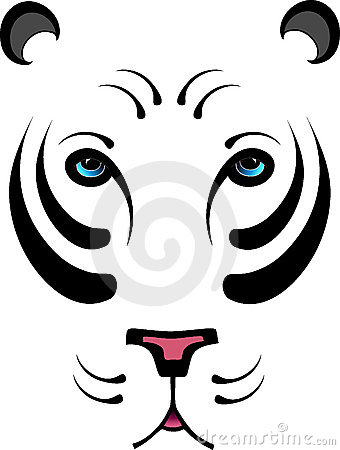 Stylized White Tiger - No Outline