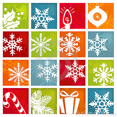 Free Stylized Winter Holiday Icons Stock Photos - 7164753