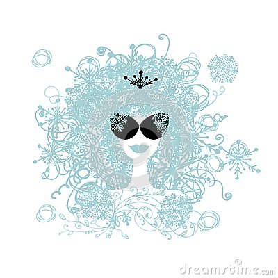 Stylized woman hairstyle with snowflake. Winter