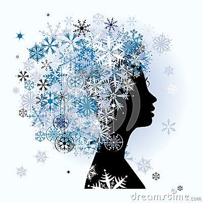 Stylized woman hairstyle. Winter season.