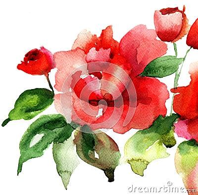 Stylizowani róża kwiaty ilustracyjni
