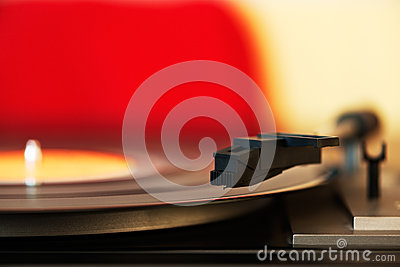 Stylus on a vinyl LP record