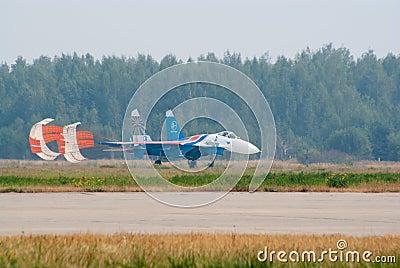Su-27 with brake parachute Editorial Photo