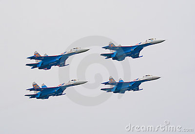 Su-27 jets from Russkie Vityazi team Editorial Photo