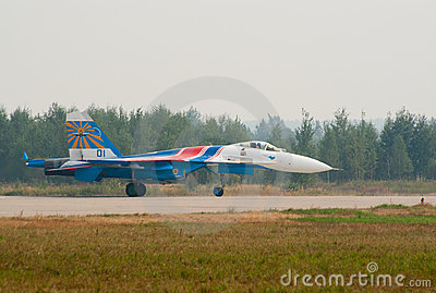 Su-27 landed Editorial Stock Image