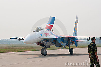 Su-27 from Russkie Vityazi taxis after landing Editorial Stock Image