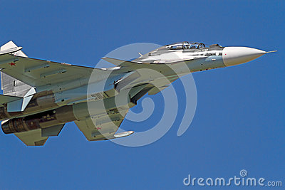 Su-30  in the blue sky Editorial Photo