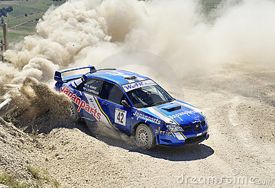 A Subaru Impreza on race Editorial Stock Photo