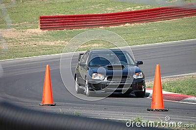 Subaru STi driving on Race Course