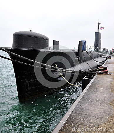 Submarine at sea in the dock