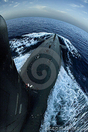 Submarine on surface Editorial Photo