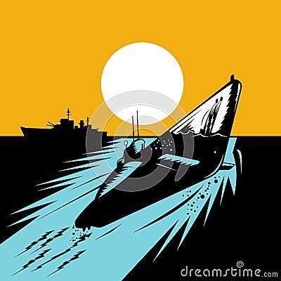 Submarine surfacing battleship