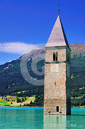 Free Submerged Church Tower,Reschensee, Italy Royalty Free Stock Image - 29943766