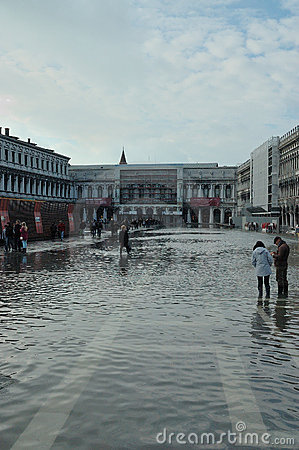 Submerged Venice square Editorial Stock Photo