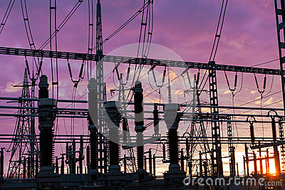 Substation on the dramatic sky background