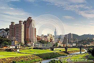 Suburb cityscape of Taipei