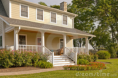 Suburban house with white porch
