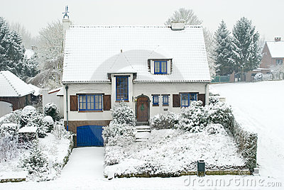 Suburban house in winter