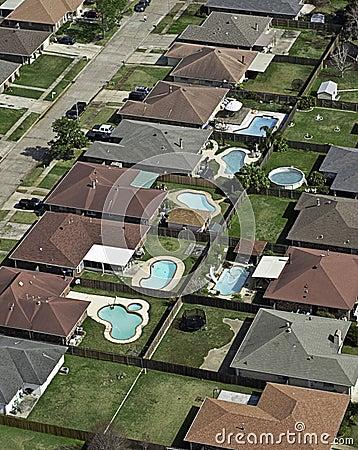 Suburban Neighborhood Aerial & Swimming Pools