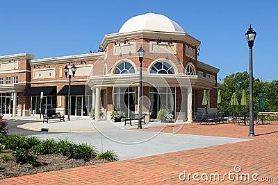A suburban shopping center