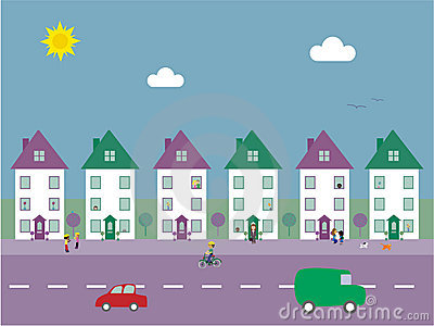 Suburban Street Vector Illustration