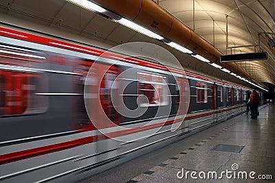 Subway approaching train