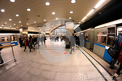 Subway Moscow crowd Editorial Photo