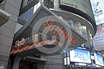 Subway sign in Times Square Editorial Photo