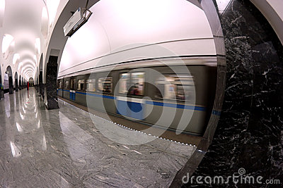 Subway station interior train motion