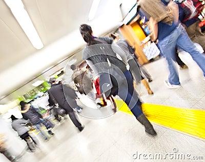 Subway station motion girl walking