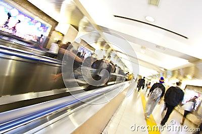 Subway station rush hour motion