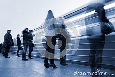 Subway. Underground station, motion blur