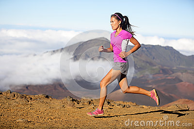 Succes runner woman athlete running sprinting