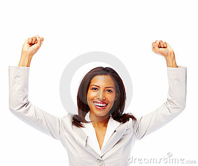 Succesful Young women arms raised