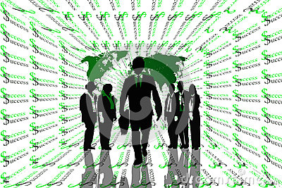 Success abstract background with world map and teamwork on silhouettes.
