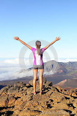 Free Success And Achievement - Hiking Woman On Top Royalty Free Stock Image - 34288246