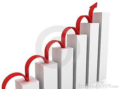 Success business chart with red jumping arrow