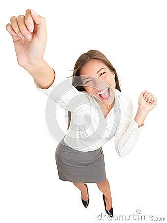 Success business woman dancing