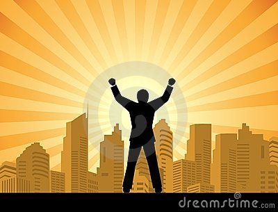 Success businessman standing on top of a building
