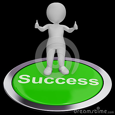 Success Button Shows Achievements Strategy And Determination