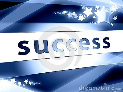 Success concept blue with stars