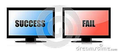 Success and fail monitors illustration