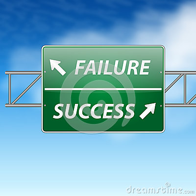 Success and Failure Road Sign Concept on blue sky